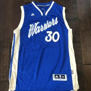 Steph Curry Warriors Adidas  Blue Christmas Jersey